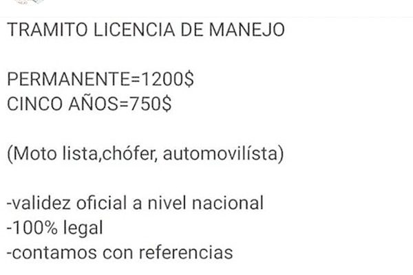 Ofrecen en Facebook licencias para conducir