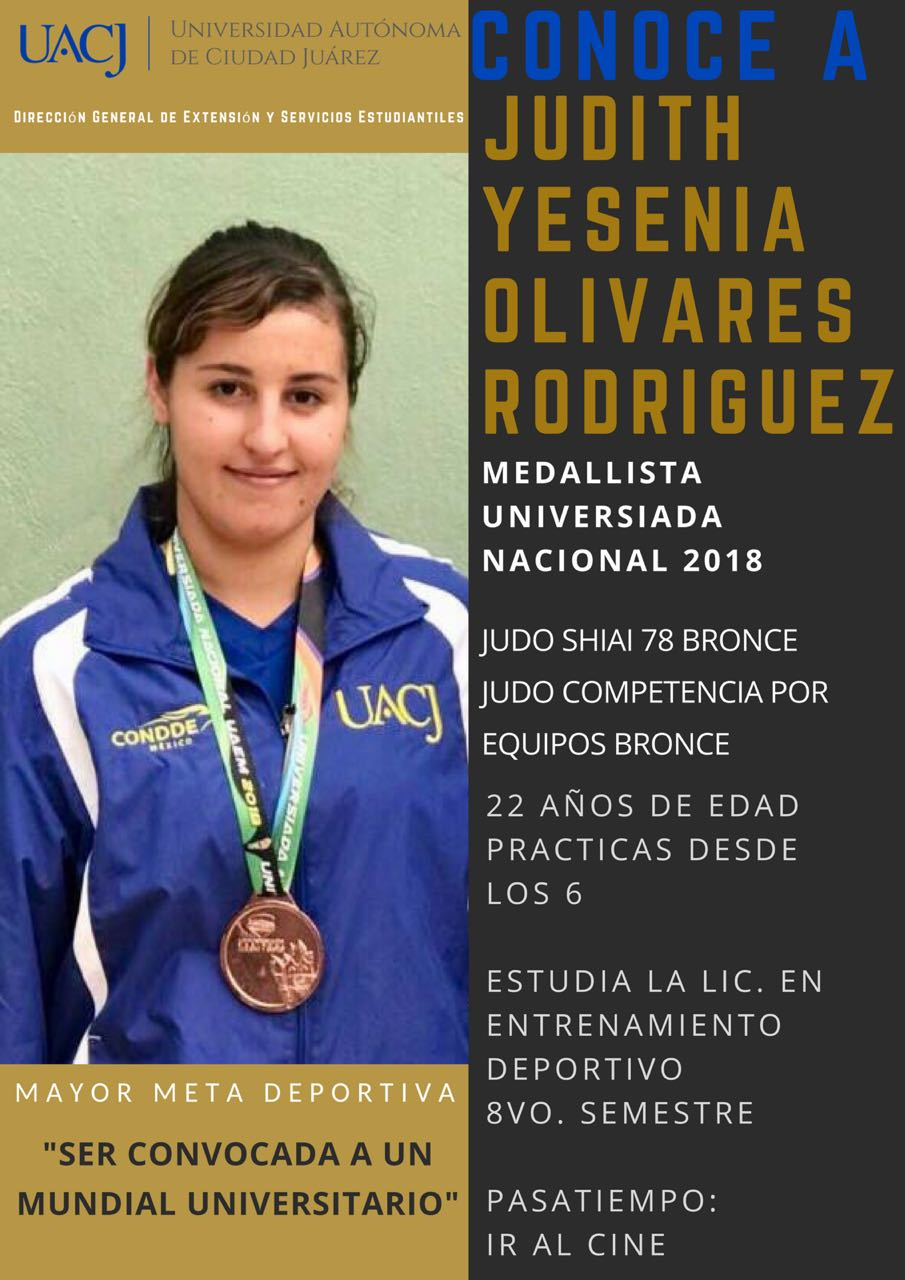 Yesenia Olivares Rodríguez, medalla de bronce en la Universiada Nacional de Judo 2018, para la UACJ.