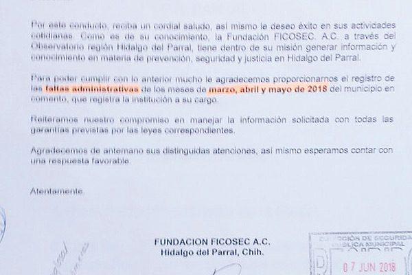 Incumple Seguridad Pública con reportes que pide Ficosec desde hace 3 meses