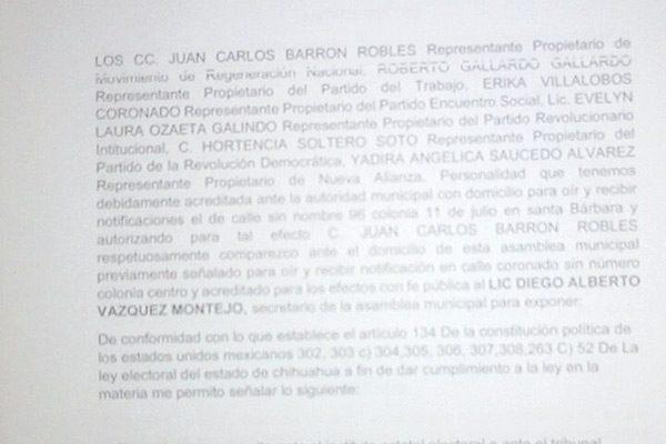 Señalan partidos que Asamblea Municipal de Santa actúa en favor del candidato Alberto Rodríguez