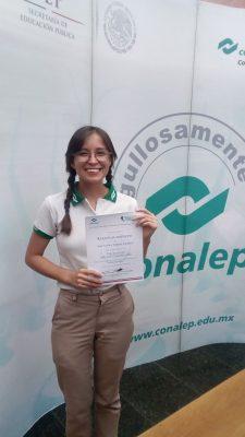 Alumna de Conalep obtiene tercer lugar en evento nacional