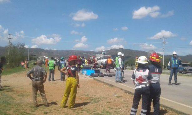 [Galería] Empresa minera realiza simulacro de accidente por sustancias corrosivas
