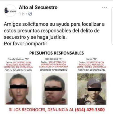 Exponen en redes sociales a presuntos secuestradores y asesinos de Rubén Alejandro Fernández Villa