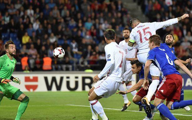 España goleó 8-0 a Liechtenstein