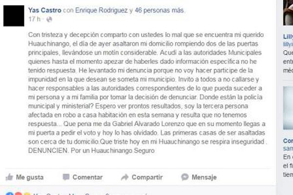 Exigen mayor seguridad en Huauchinango ante oleada de robos