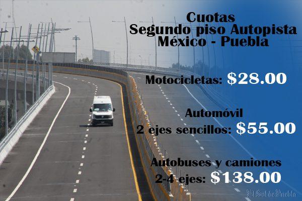 55 pesos cuesta transitar por el segundo piso de la México-Puebla