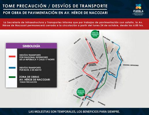 Cambian circulación de 21 rutas por obras en avenida Nacozari