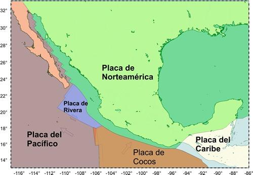 Las cinco placas que rodean México