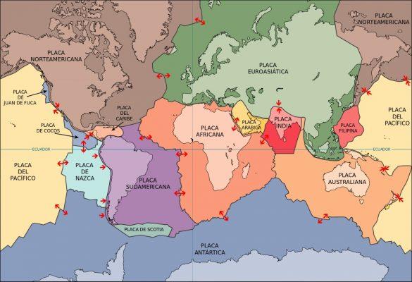 Mapa de las 15 placas principales, existen 42 más secundarias