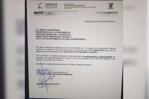 Suspenden labores en Colima por el natalicio de Benito Juárez ¿En noviembre?