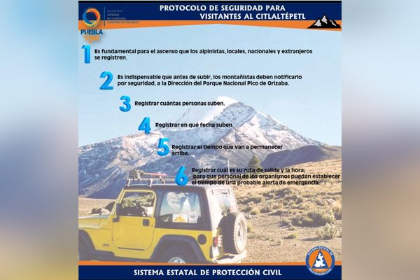 Lanzan protocolo de seguridad para escalar el Pico de Orizaba