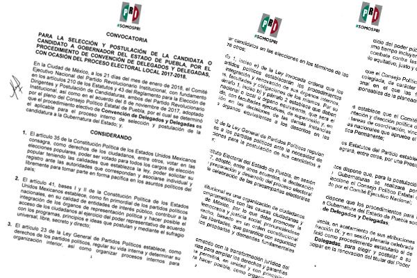 Lanza PRI convocatoria para aspirantes a la gubernatura de Puebla