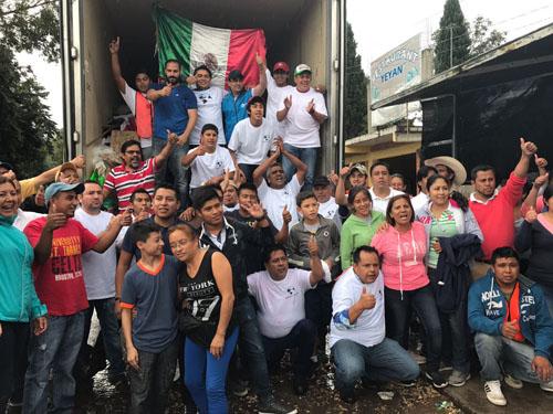 Llegan salmantinos con ayuda a Morelos