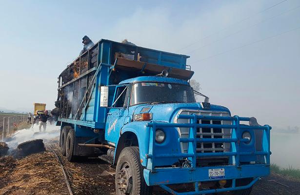 Ardió carga de forraje en camión Torton