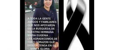 Confirman muerte de mujer extraviada en Amealco