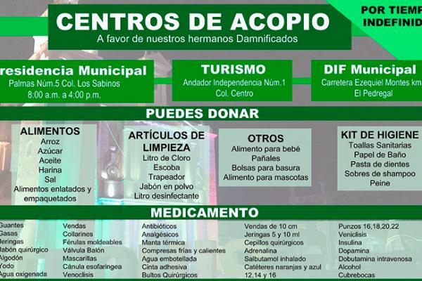 Abren centros de acopio en Tequisquiapan