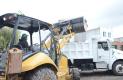 BRIGADA de 57 personas y camiones para el arrastre de desechos  el apoyo del gobierno municipal de Amealco de Bonfil.Foto: Luis Luevanos