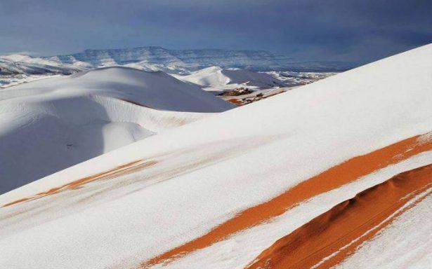 Captan desde el espacio la nevada en desierto del Sahara