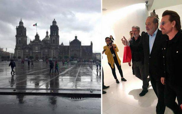 ¡U2 visita el Zócalo capitalino y el museo Soumaya!