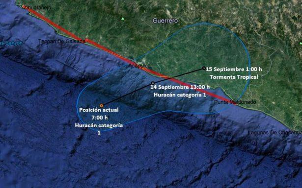 Max, cerca de Acapulco; ya es huracán categoría 1