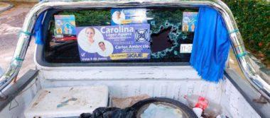 Balean camioneta de candidata panista en Las Choapas