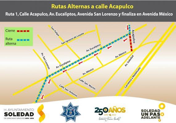 Vías alternas por obras en calle Acapulco