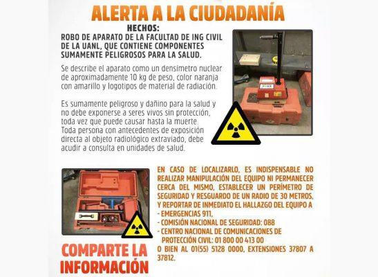 Encuentran material radioactivo robado en Nuevo León