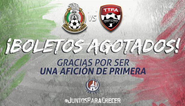 Boletos agotados para el México vs. Trinidad y Tobago