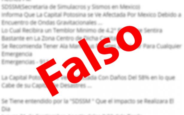 Circula falsa alerta de sismo en SLP