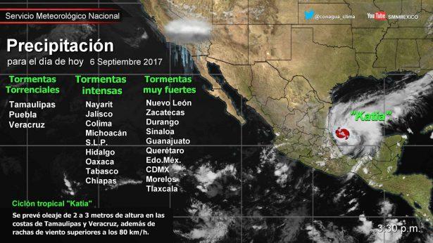 Tres sistemas meteorológicos ocasionan lluvias en SLP