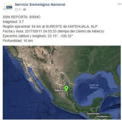 Reporta Protección Civil sismo de 3.7 al sureste de Matehuala