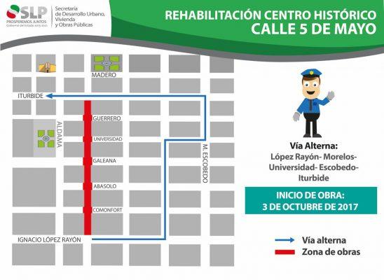 Estas son las rutas alternas por la rehabilitación de 5 de mayo