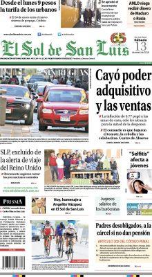 Portada El Sol de San Luis 13 / 01 / 2018