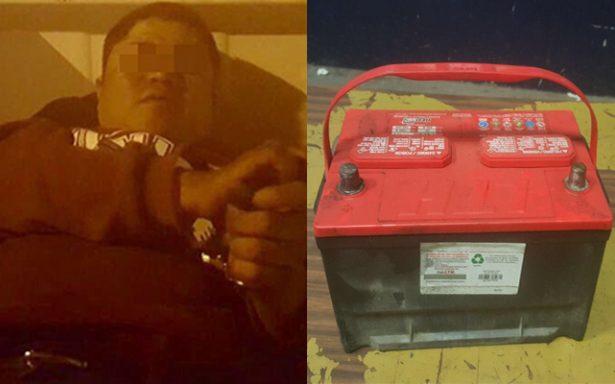Detenido por robarse la batería de un vehículo en la colonia San Juan de Guadalupe
