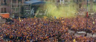 Monterrey de azul y amarillo: Tigres festeja campeonato en la Macroplaza