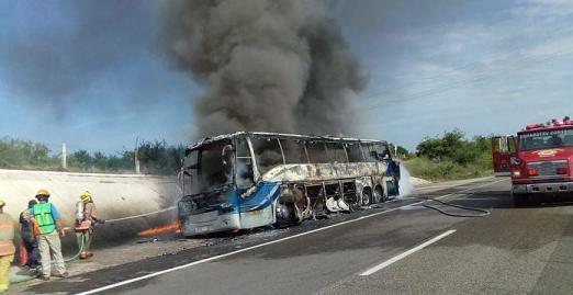 Camión de pasajeros arde por la Maxipista