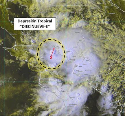 Se forma la depresión tropical 19-E de la temporada