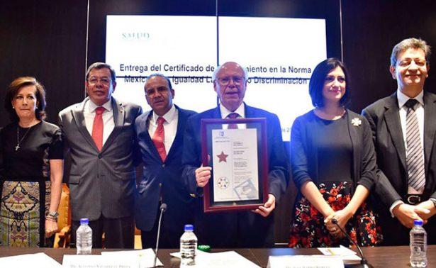 Certifican a Secretaría de Salud por resaltar valores de igualdad laboral