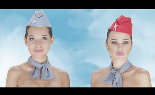 [Video] Azafatas y pilotos se desnudan para difundir sus promociones