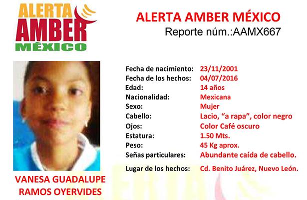 Activan Alerta Amber para Localizar a Vanesa Ramos