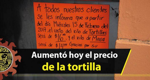 Aumentó hoy el precio de la tortilla
