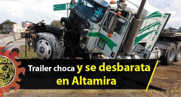 Tráiler choca y se desbarata arriba de un paso a desnivel en Altamira