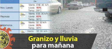 Granizo y lluvia para mañana, anuncia Protección Civil en Tamaulipas