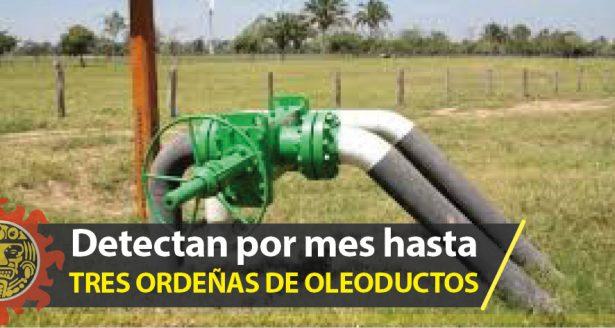 Detectan por mes hasta tres ordeñas de oleoductos