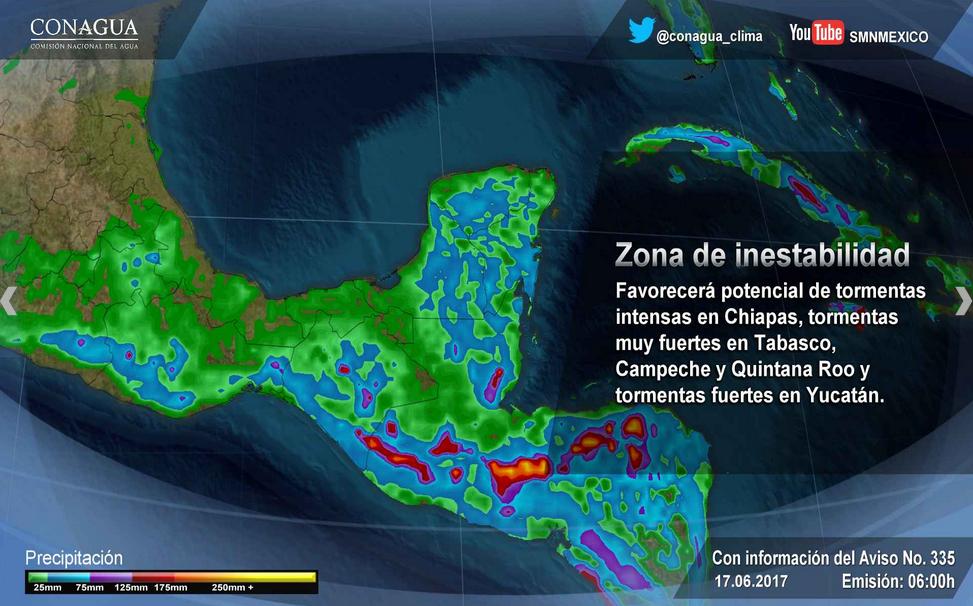 Alertan por posible desarrollo ciclónico en la península de Yucatán