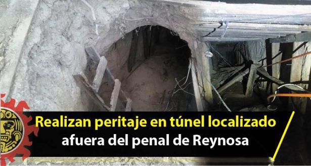 Realizan peritaje en túnel localizado afuera del penal de Reynosa