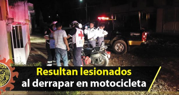 Resultan lesionados al derrapar en motocicleta