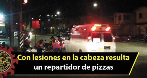 Con lesiones en la cabeza resulta un repartidor de pizzas al circular a exceso de velocidad