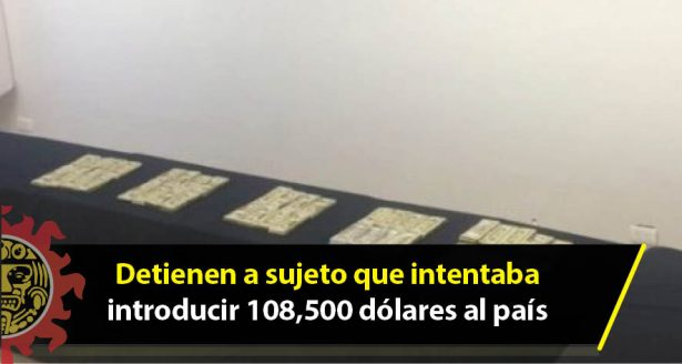 Detienen a sujeto que intentaba introducir 108,500 dólares al país