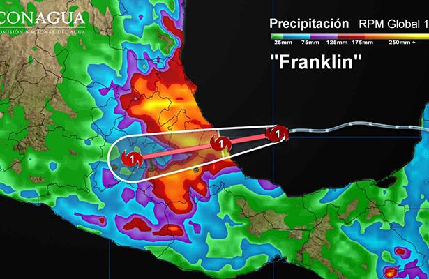 """""""Franklin"""" ya es huracán categoría 1"""